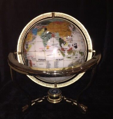 Mother of Pearl Globe W/ Gemstone Inlay On Brass Stand W/ Compass, 13