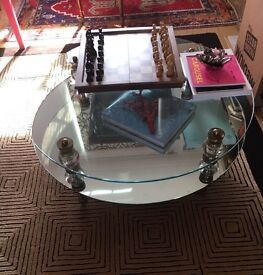 Art deco glass mirror chic Hollywood Regency coffee table