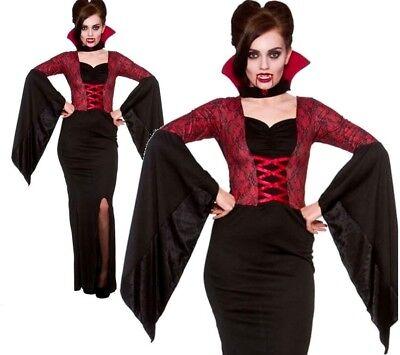 Ladies ALLURING VAMPIRESS Bride of Dracula Halloween Fancy Dress Costume UK - Brides Of Dracula Kostüm