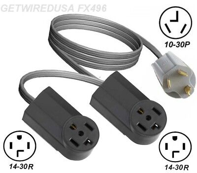 Y ADAPTER 10-30P 3-PIN PLUG to 14-30R 4 PRONG DRYER RECEPTACLE DUAL SPLITTER