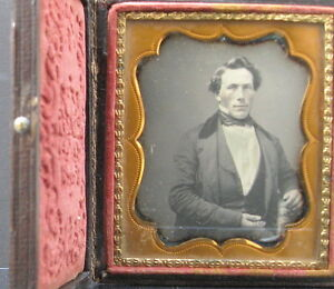 6TH Plate Daguerreotype of a well dressed young man with a bow tie