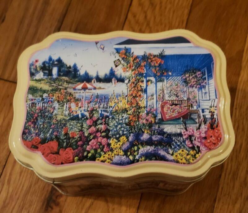 Vintage Tin Box Company Diane Phalen Watercolors Decorative Metal Tin.