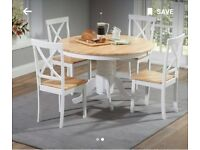 Epsom Oak & Cream Dining Table Set & 4 chairs for sale!