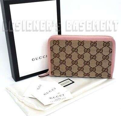 GUCCI beige GG Canvas pink Pebbled Leather small Zip Around wallet NIB Authentic