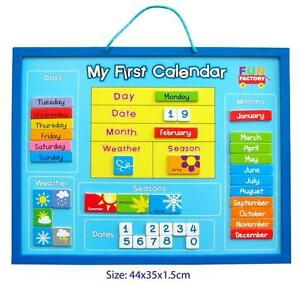 NEW WOODEN Educational Magnetic Childrens My First Calendar & Weather Chart
