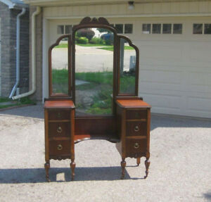 Refinished Antique Vanity / Make Up Desk w. Triple Mirror