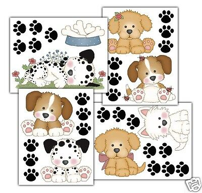 Puppy Dog Wall Decals Baby Boy Girl Nursery Kids Childrens Room Stickers Decor