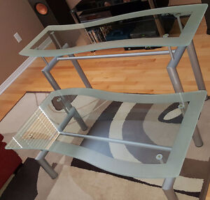 Set of matching living room tables, glass and metal