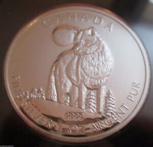 2011 Wolf Maple Leaf Canada 1 oz Pure .9999 Silver Coins
