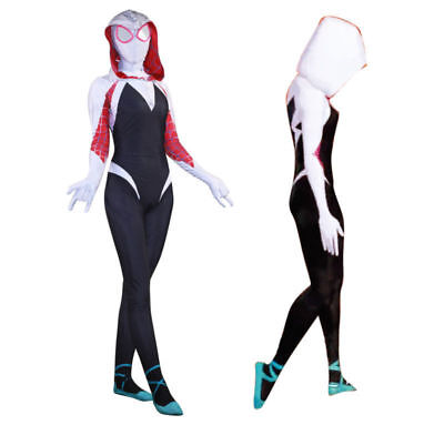 Into the Spider Verse Gwen Stacy Woman Spiderman Costume Halloween Jumpsuits](Spider Woman Halloween Costume)