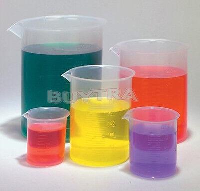Trendy Lab Supplies Plastic Clear Beaker Set Of 5- 50 100 250 500 1000ml La
