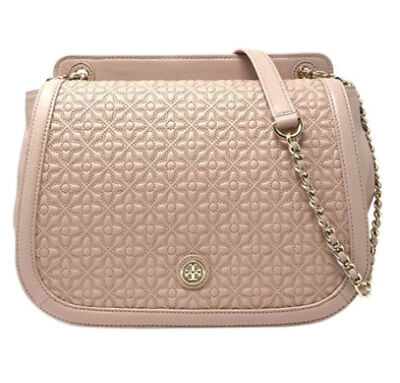 Tory Burch Light Oak Bryant Quilted Flap Crossbody Satchel Shoulder Bag