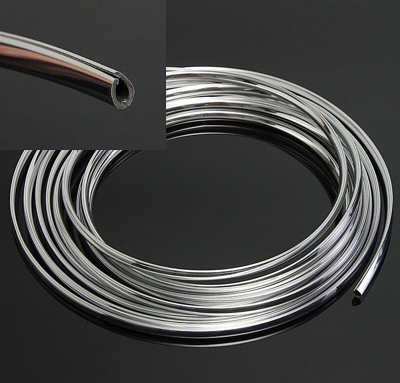 8mm x 3m Chrom Zierleiste Leiste Chromleiste Selbstklebend Flexibel Kunststoff