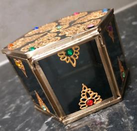 Heart Or Circle Shape Diamonte Crystal Ornament Jewellery Bone China Trinket Box