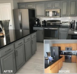 Kitchen and bathroom cabinets refinished