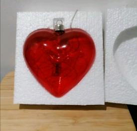 Brand new LED Light Up Glass Hanging Heart