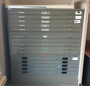 USED FLAT BLUE PRINT PLAN & FILING CABINETS