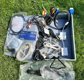 Joblot of modems, ADSL filters, USB cables & various other cables.