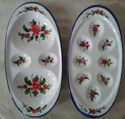 2 alte Keramikplatten Servierteller Platten von WMF Keramik handgemalt