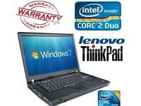 LENOVO THINKPAD T60 CORE2DUO 1.8Ghz ✔ 4GB ✔ 500GB ✔ WARRANTY ✔ WIN 7-H4