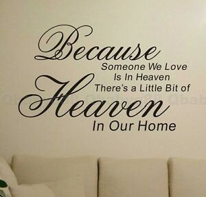 Because Heaven Wall Quotes Decals Removable Stickers Decor