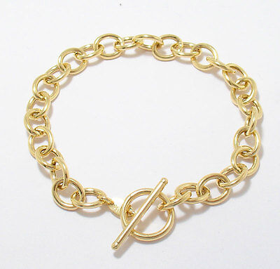 (Oval Link Charm Bracelet Toggle Clasp REAL 14K Yellow Gold FREE SIZE)