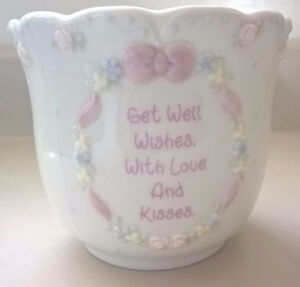 Precious Moments Get well wishes with love and kisses Flower Pot