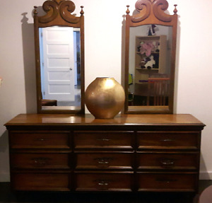 Vintage dresser with 2 mirrors and headboard
