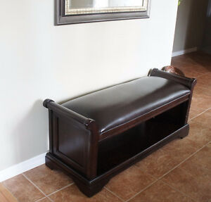 Solid Hardwood Bench with Top Grain Leather Kitchener / Waterloo Kitchener Area image 1