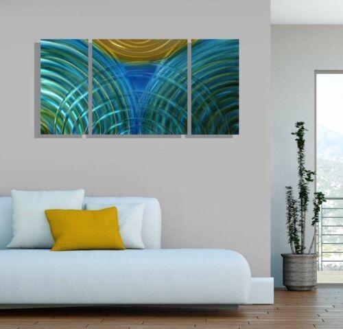 Statements2000 3D Metal Wall Art Panels Modern Aqua Blue Gold Decor by Jon Allen