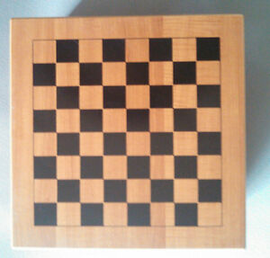 Wooden Game Storage Box with Playing Boards for Six Games