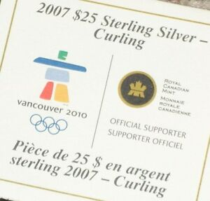 2007 $25 Sterling Silver Curling Olympic Coin in case Regina Regina Area image 3