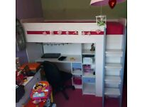 🌟LIKE NEW🌟 SINGLE BUNK CABIN BED WITH DESK DRAWERS AND CUPBOARD CHILDRENS