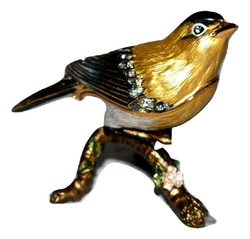 Goldfinch on Branch Jeweled Trinket Box Swarovski Crystal Accents Enamel Pewter