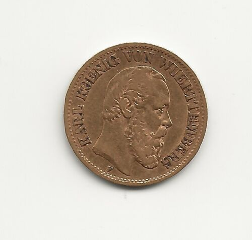 Germany Wurttemberg 1876 10 Mark Gold, Krause #624, VF