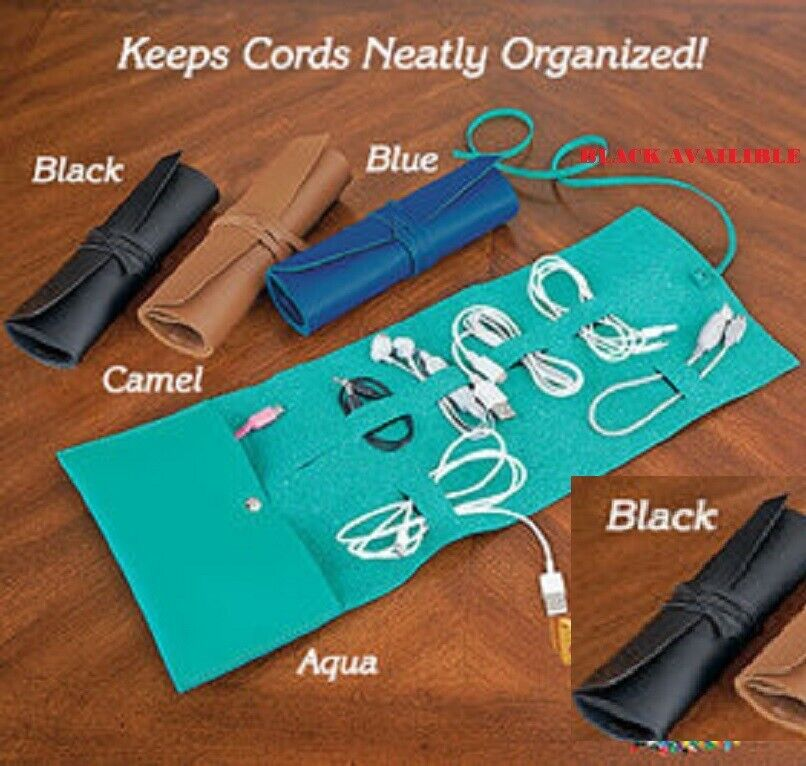 Cord Storage Roll Travel organize and store your cords plugs Vegan Leather Black Cable Ties & Organizers