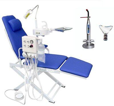 Portable Dental Mobile Chair Blue Turbine Unit 4h Waste Basin Curing Light
