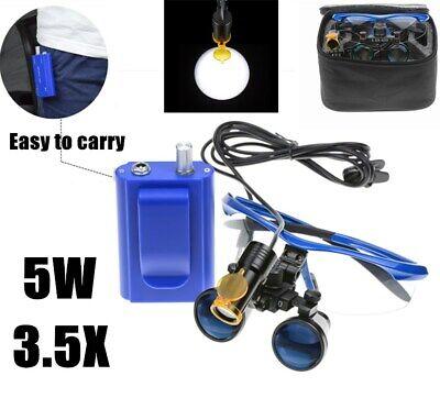 Dental 5w Led Head Light With Filter Belt Clip 3.5x Binocular Loupes Blue