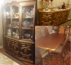 1960s GOLDEN FRENCH TABLE, 6 CHAIRS, BUFFET AND HUTCH
