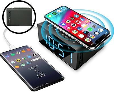 Digital LED  Alarm Clock Wireless Charging Radio Alarm Clock with Bluetooth