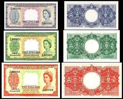 !COPY! MALAYA & BRITISH BORNEO 1$ / 5$ / 10$ 1953 BANKNOTES !NOT REAL!