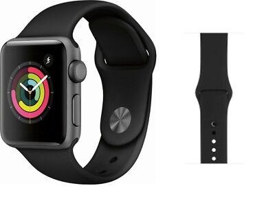 Apple Watch Series 3 42mm GPS Space Gray Aluminum Black Sport Band MQL12LL/A