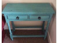 Console Table Vintage Upcycled / Shabby Chic Turquoise Blue / Green Hall/Lounge Prescot or Widnes