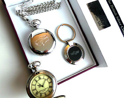 Classic MORRIS MINOR Silver Car POCKET WATCH and KEYRING Set in Luxury Gift Case