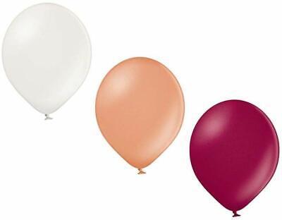 50 Luftballons 3 Farben metallic Weiß, Rosegold und Burgund 27cm Ø  KEIN PLASTIK