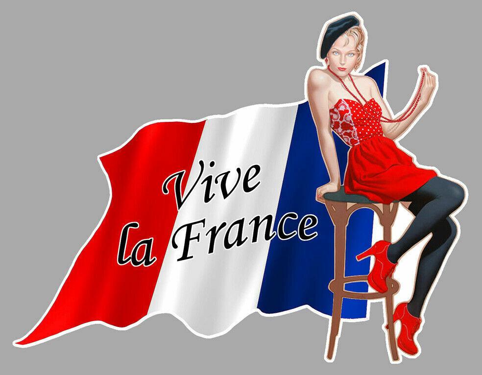 VIVE LA FRANCE DRAPEAU FRANCAIS FLAG PINUP STICKER ALLEZ AUTOCOLLANT MOBYLETTE