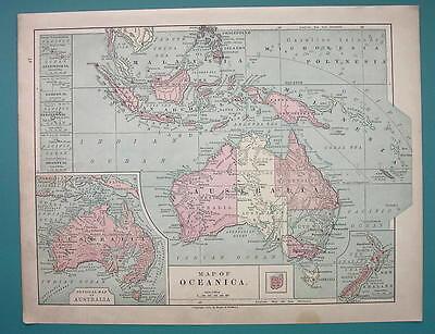 1875 MAP COLOR - AUSTRALIA & Oceania Pacific Islands