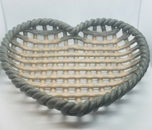 Stoneware Woven Basket Heart Shape River Hill Pottery Signed G Sellers Gail  - $15.00
