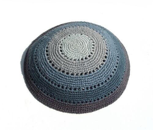 H. Quality Knitted Jewish Kippah Crochet Yarmulke Gray Yarmulka Kippa Judaica