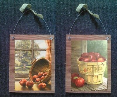 (💗 Country Apple Pictures Primitive Apples Wall Hangings Rustic Kitchen Plaques)